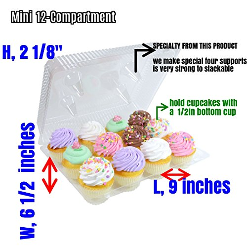 (Mini Cupcake Boxes, Mini Cupcake Containers 12-Compartment Cupcake Container mini cupcake box 12 Mini Cupcake Container, Cupcake Box (12, Mini 12 Compartment Cupcake Container))
