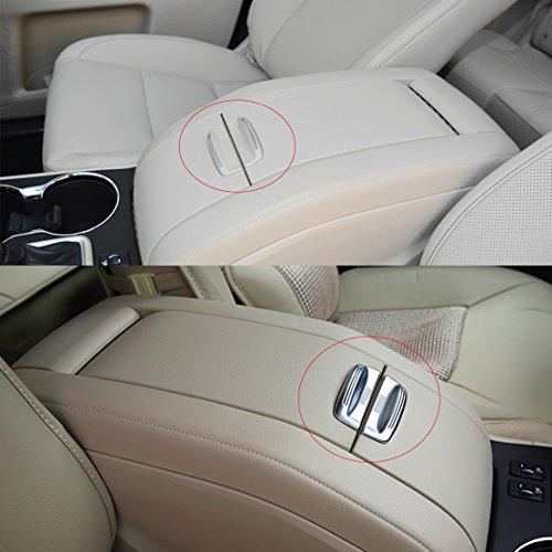 beler 2pcs Chrome Plated Armrest Storage Box Decoration Cover Trim for Toyota Highlander 2014-2017