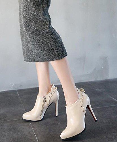 Dark Delgado 11 La Impermeable Alto Única De Solo Mujer De Zapatos De White E GTVERNH Rice Y Temporada Zapatos Nueva Invierno Con 5 Tacón Cm De De Otoño Zapatos AwZHTP