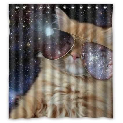 custom-cool-cat-ware-galaxy-glasses-in-outer-space-shower-curtain-stylish-waterproof-polyester-fabri