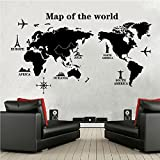 COFFLED Professional Large World Map Wall Decal Stickers,Big and Precise Removable and Easy-to-apply Wall Decoration for Office or Sitting Room