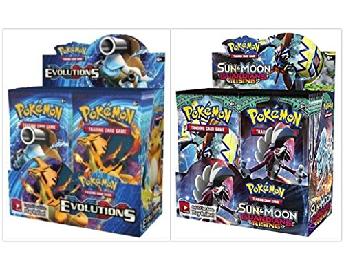 Pokemon Evolutions Booster Box and Sun & Moon Guardians Rising Booster Box Card Game Bundle, 1 of Each