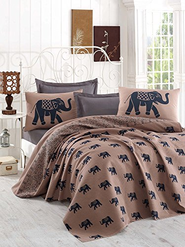 LaModaHome Luxury Soft Colored Twin and Single Bedroom Bedding 100% Cotton Single Coverlet (Pique) Thin Coverlet Summer/Elephant Animal Safari Big Grey and Brown Design by LaModaHome