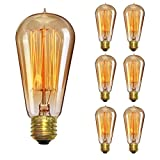 Edison Vintage Light Bulbs, KINGSO 40W Antique Incandescent Bulb ST58 Squirrel Cage Filament 180LM E26/E27 110V Dimmable-6 Pack