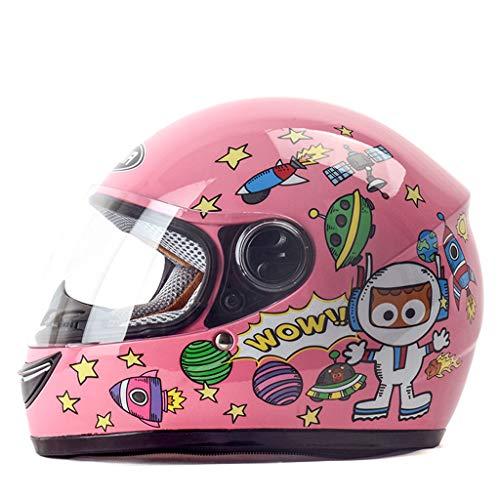 BHJqsy Children's Helmet Winter Windproof Warm Cartoon Boy Girl Full Face Helmet (Color : PINK)