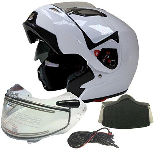 Adult Dual Visor Modular Full Face Snowmobile Helmet With Heated Shield, Breath Box (White, Medium) ()
