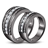 TVS-JEWELS Full Black Rhodium Plated 925 Sterling Silver Lovers Couple Ring Engagement Promise Band