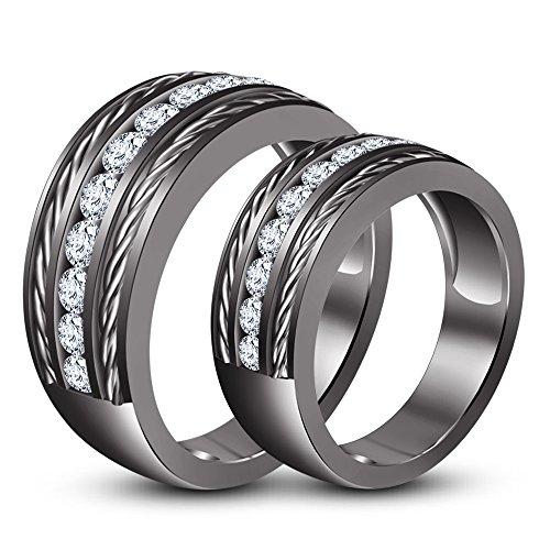 TVS-JEWELS Full Black Rhodium Plated 925 Sterling Silver Lovers Couple Ring Engagement Promise Band by TVS-JEWELS