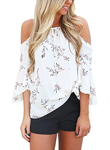 Sweetnight Womens Cold Shoulder 3/4 Sleeve Tops Floral Print Shirt Casual Blouse (White2, (Bella Print Blouse)