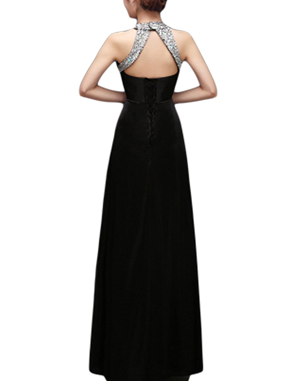 Amazon.com: SeasonMall Women\'s Prom Dresses A Line Halter Elastic ...
