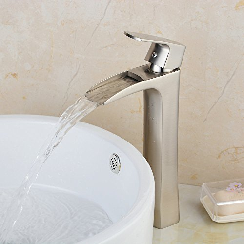 Hiendure Single Handle One Hole Soild Brass Bathroom Waterfall Vessel Sink  Faucet, Brushed Nickel