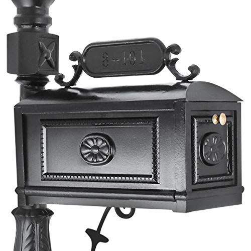 Happybuy Cast Aluminum Mailbox 64 x 10.5 inch with 18 x 8.5 inch Postbox Barcelona Decorative Post Mailbox Combination Stratford Heavy Duty Mailbox & Post System Black for Family Garden Outdoor by Happybuy (Image #3)