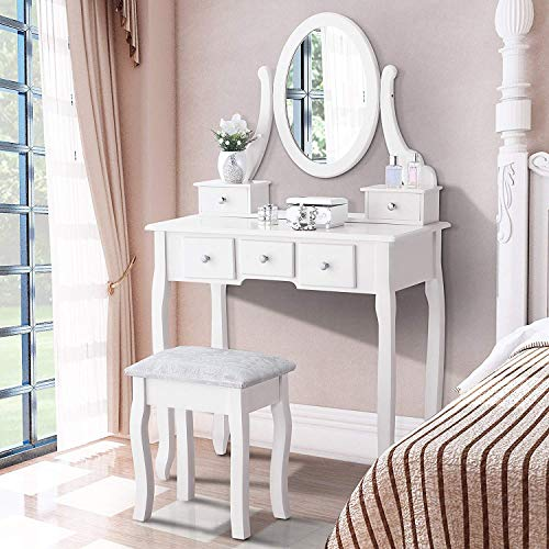 Mecor Vanity Table Oval Mirror,Makeup Vanity Set Cushioned Stool Wood Dressing Table with 5 Drawers for Girls Women,White - Vanity Bedroom
