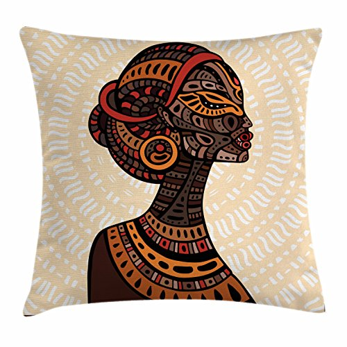 Ambesonne African Woman Throw Pillow Cushion Cover, Hand Drawn Ethnic Illustration Profile Portrait Tribal Ornaments Folk Art, Decorative Square Accent Pillow Case, 20 X 20 inches, (Folk Art Portraits)