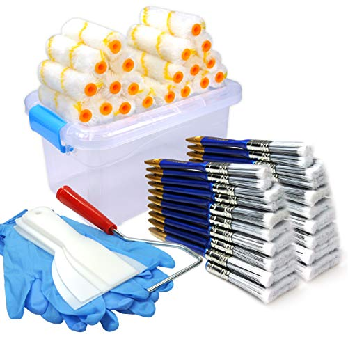 50 Piece Painters Multi use,Home Tool kit,Mini Paint Roller Covers,Paint Roller,Paint Brush,Paint Roller Frame,Home Repair Tools,Tools,Tool kit,Tool case,Home Tool kit,Tool Storage,Tool Box (Best Roller For Exterior Painting)