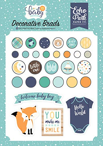Echo Park Paper Company Hello Baby Boy Decorative brads, Navy, Yellow, Teal, Orange