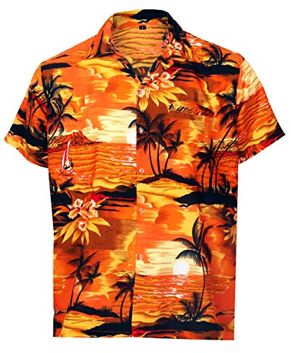 - Virgin Crafts Hawaiian Shirt for Men Short Sleeve, Beach, Orange, XS