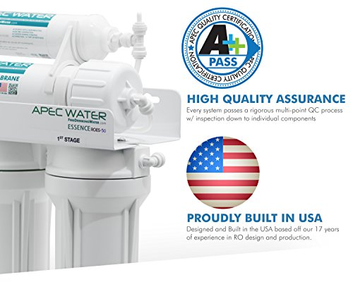 APEC - Top Tier - Built in USA - Ultra Safe, Premium 5-Stage Reverse Osmosis Drinking Water Filter System (ROES-50)