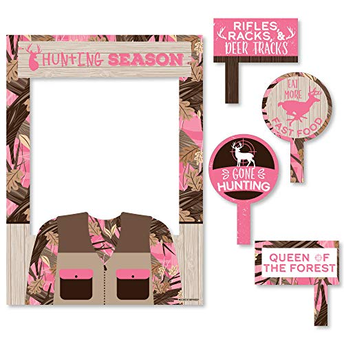 Big Dot of Happiness Pink Gone Hunting - Deer Hunting Girl Camo Baby Shower or Birthday Party Selfie Photo Booth Picture Frame and Props - Printed on Sturdy Material]()