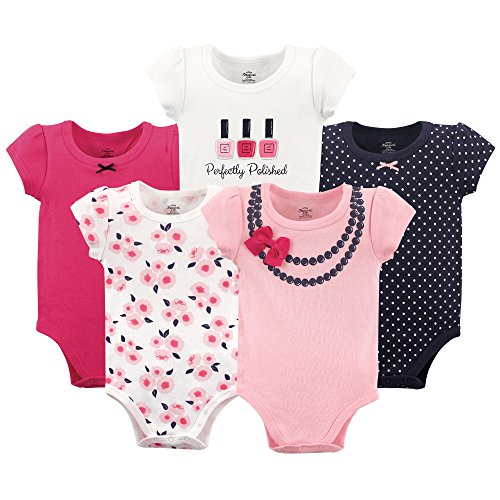 Little Treasure Baby Cotton Bodysuits, Bow Necklace 5-Pack Short-Sleeve, 3-6 Months (6M)