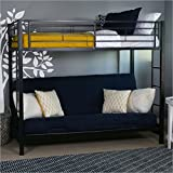 bunk bed couch Sturdy Metal Twin-over-Futon Bunk Bed in Black Finish