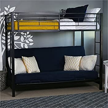 sturdy metal twin over futon bunk bed in black finish amazon    sturdy metal twin over futon bunk bed in black finish      rh   amazon