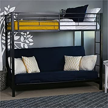 wholesale dealer 8e7ac 90c65 Sturdy Metal Twin-over-Futon Bunk Bed in Black Finish