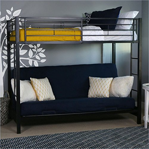 (Sturdy Metal Twin-over-Futon Bunk Bed in Black Finish)