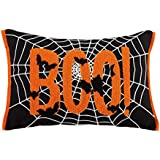 Cassiel Home Boo Halloween Decorative Throw Pillow Cover,1pcs Cotton Deco Pillow Cover Embroidery Cushion Cover,12X18 inch