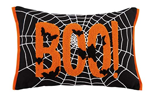 Cassiel Home Halloween Throw Pillow Cover 12x18 - Orange Boo Black Pillow Cover Black Bats White Spider Web - Halloween Cute Decorations Girls Boys Gifts
