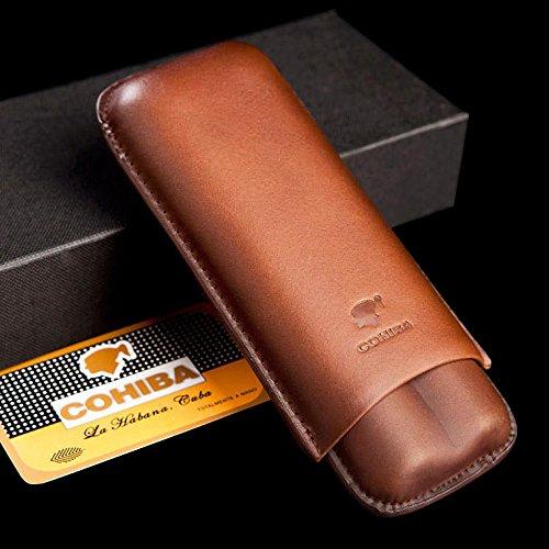 Leather Cigar Travel Case - Brown Genuine Leather 2 ct Adjustable Cigar Case Travel Holder