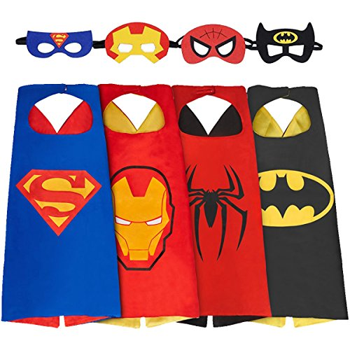 [HRBB Cape and Mask Set of 4 Different Superhero Dressing Up Costumes for Kids] (Four Group Costumes)