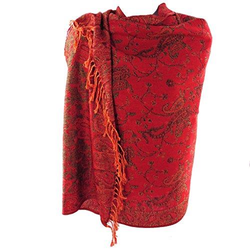 Silver Fever Pashmina - Jacquard Paisley Shawl - Stylish Scarf - Double Sided Wrap(Red Orange)