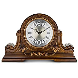 Mantel Clock with Roman Numerals, Antique design, Faux Wood by Decodyne