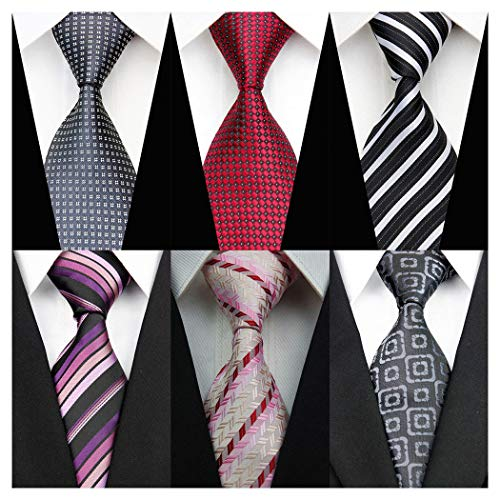 Men's Classic Neckties 6 PCS Silk Ploka Dot Stripe Tie Woven Jacquard Neck Ties