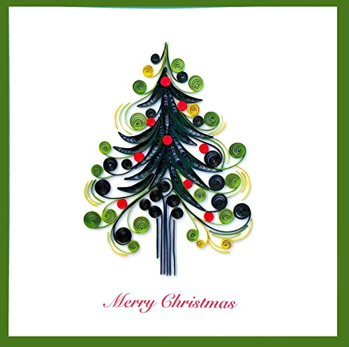 Merry Christmas Tree Quilling Greeting Card, 6×6 with Envelope. Hand-made. Suitable for Framing.