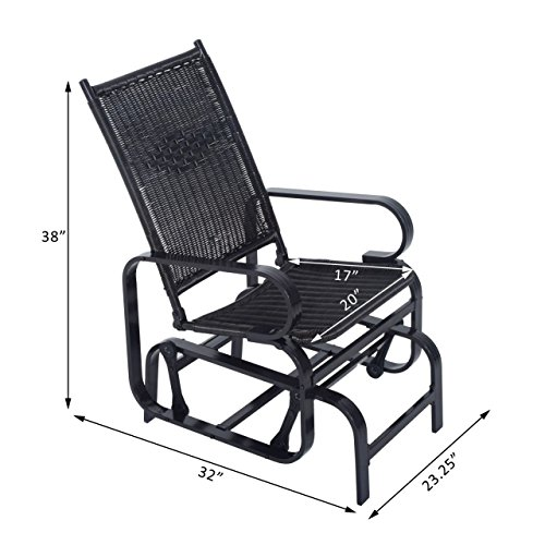 Outdoor Rattan Patio Glider Swing Chair Rocking Seat Wicker Desk Furniture #705b (Sam's Club Outdoor Furniture Replacement Cushions)