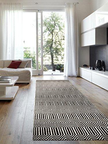 benuta Teppiche: Moderner Designer Teppich Läufer Sloan Schwarz/Weiß 66x200 cm - schadstofffrei - 55% Wolle, 45% Baumwolle - Chevron / Zickzack - Flachgewebt - Flur / Diele