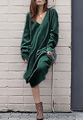 Jumper V Vestir De Juveniles Punto Casual Verde Elegantes Color Vestido Jerséis Larga Vestidos Moda Mujer Slim Sólido Manga Invierno Suéter Cuello Otoño Largos Diario ZqPxR