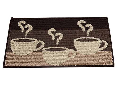 LamourBear Coffee Durable Kitchen Runner Entrance Door Runner Floor Rug Indoor Runners Polypropylene Fibre Non Slip Rubber Back Kitchen Runner Multi Color 18 X 47 in