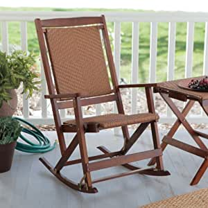 Amazon Com Willow Bay Folding Resin Wicker Rocking Chair