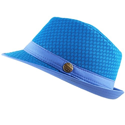 THE HAT DEPOT 200G1015 Light Weight Classic Soft Cool Mesh Fedora Hat (S/M, Turquoise)