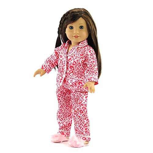 18 Inch Emily Rose Doll Clothes/clothing Fits American Girl Dolls - Pink Leopard Pajamas & Slippers 18