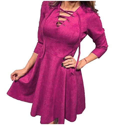 Womens Dress Neck Accept Waist Long Red Bandage Coolred Mini Sleeve Rose V Chic dWOqwcvU
