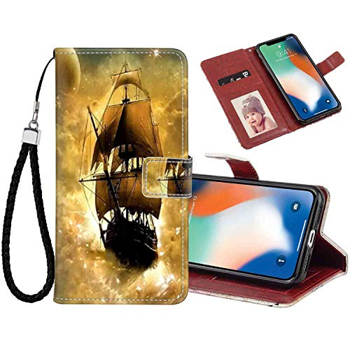Phone Wallet Case Fits for Apple iPhone 10/iPhone X/iPhone Xs [5.8in] Sailboat Fold