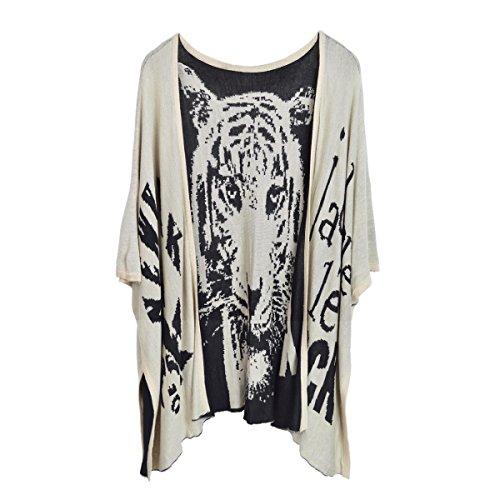 Premium Tiger Print Kimono Cardigan Blouse Poncho Sweater Top w/ Buttons