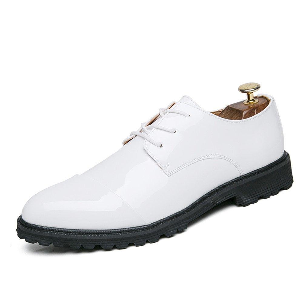 Zapatos Oxford de Cuero con Cordones Delanteros con Cordones Delanteros de Moda británicos Oxford para Hombres 41 EU|Blanco