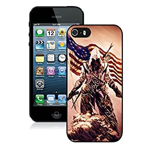 Game Case,Easy Use Case Assassins Creed 3 Desmond Miles Pistol Axe Flag Cover Case for iphone 5 5s 5th in black