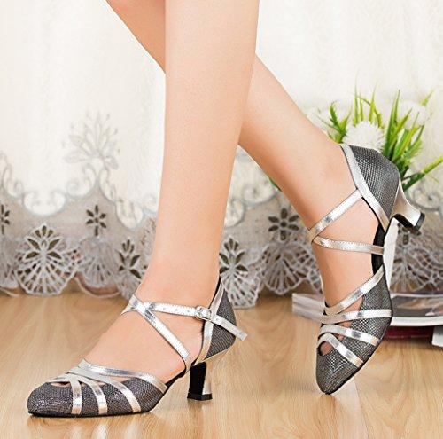 Crc Para Mujer Elegante Punta Redonda Brillo Material Salón De Baile Sintético Morden Salsa Tango Latino Fiesta De La Boda Zapatos De Baile Profesional Gris