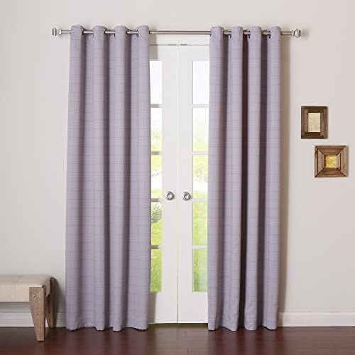 Best Home Fashion Closeout Room Darkening Two-Tone Plaid Curtains Stainless Steel Nickel Grommet Top Lilac 52″ W x 96″ L Set of 2 Panel